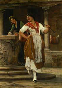 Meeting in the Square - Eugene de Blaas