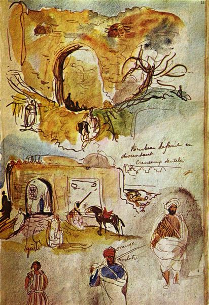 City wall of Meknes (Morocco from the sketchbook), 1832 - Eugene Delacroix
