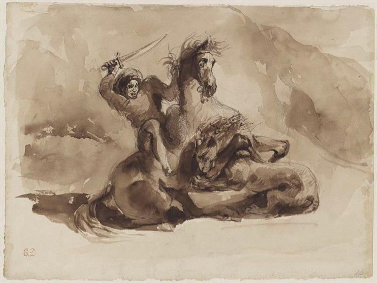 Horse and Rider Attacked by a Lion - Eugène Delacroix