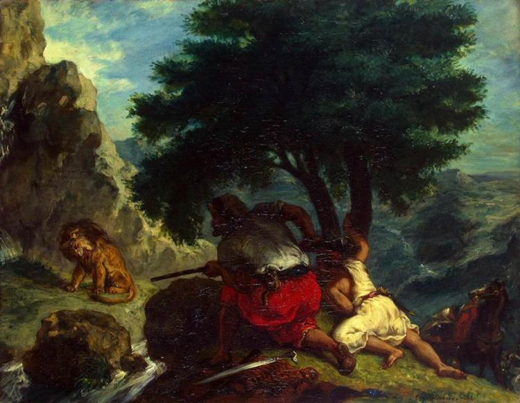 Lion Hunt in Morocco, 1854 - Eugène Delacroix