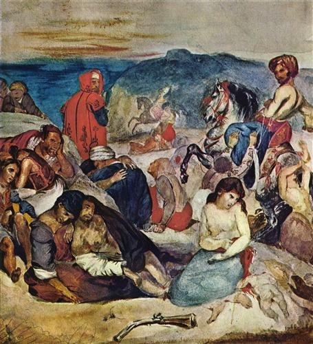 eugene delacroix's the massacre at chios Slide 16 eugene delacroix eugene delacroix is the most prominent figure in french romantic painting the most three important painting for him are massacre of chios, 1822-24, death pf sardanapalus, 1827-28, and liberty leading people, 1830.