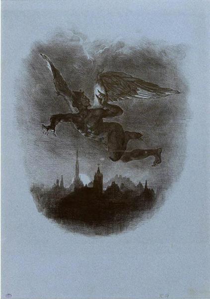 Mephistopheles Aloft, 1826 - Eugene Delacroix