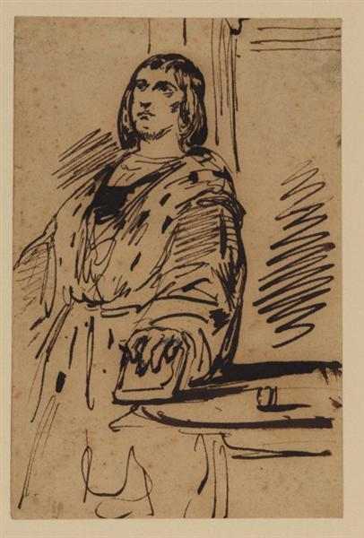 Study of a man in costume - Eugene Delacroix