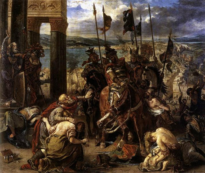 The Crusaders' entry into Constantinople, 12th April 1204, 1840 (oil on canvas), 1840 - Eugene Delacroix