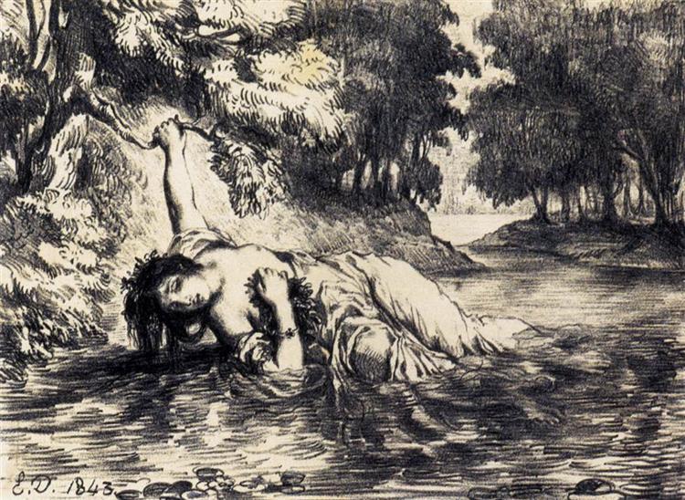 Смерть Офелии, 1843 - Эжен Делакруа