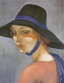 Portrait of a Young Woman in a Hat (Jadwiga Zak) - Eugeniusz Zak