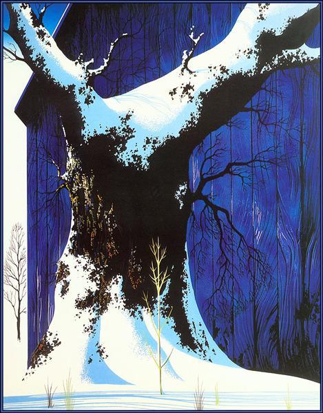 Blue Barn and Snow - Earle Eyvind