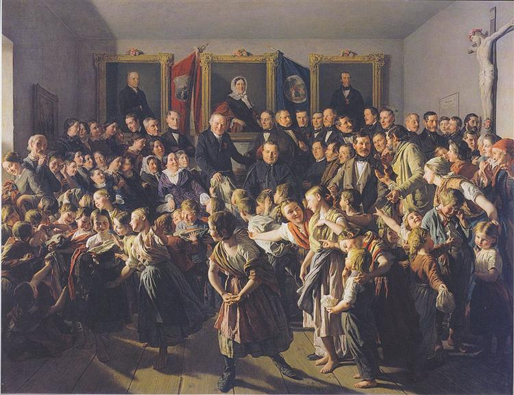 Children of poor parents get winter clothes from the community on Spittelberg on Saint-Michael-Day, 1857 - Фердинанд Георг Вальдмюллер