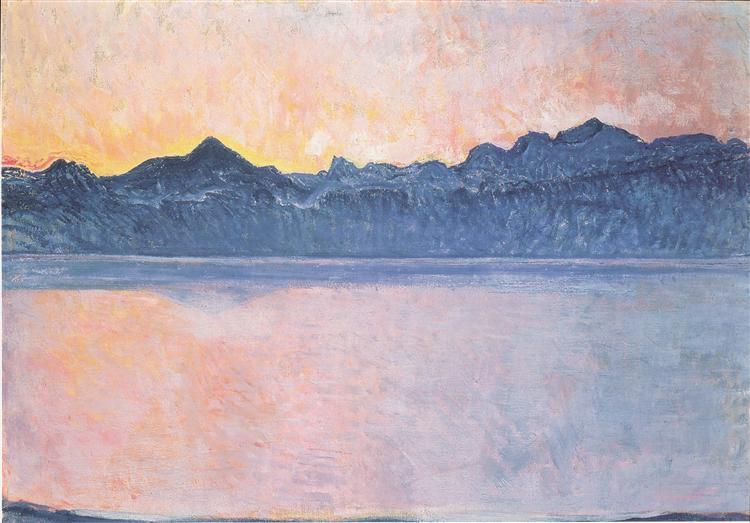 Lake Geneva with Mont Blanc in the morning light, 1918 - Ferdinand Hodler