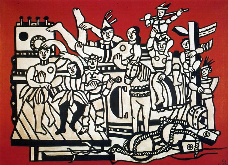 Grand parade on red background, 1953 - Fernand Leger