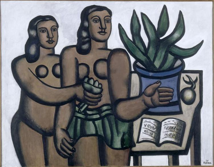 The two women in blue vase, 1935 - Fernand Leger