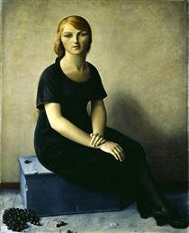 Yvonne in a Velvet Dress - François Barraud