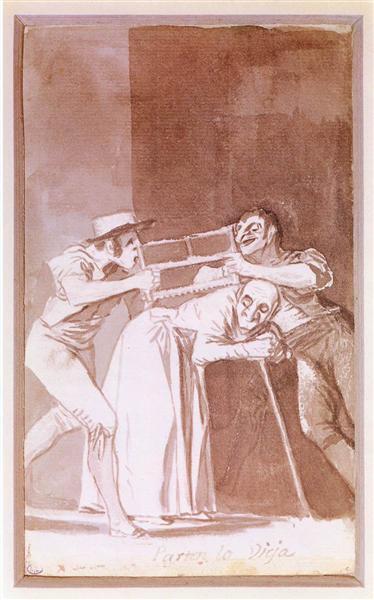 Sharing the Old Woman, c.1810 - Francisco Goya