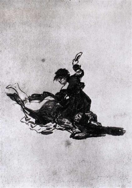 Woman Hitting Another Woman with a Shoe, c.1812 - c.1823 - Francisco Goya