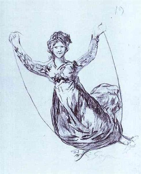 Young Witch Flying with a Rope, 1824 - 1828 - Francisco Goya