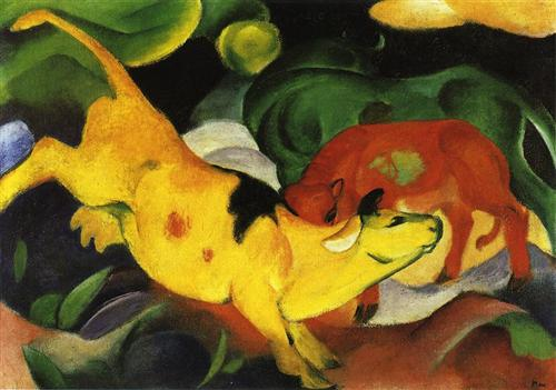 Franz Marc, Cows, Yellow-Red-Green, 1912. Oil on canvas, 24.4 x 34.4 in. Staedtische Galerie im Lenbachhaus, Germany.