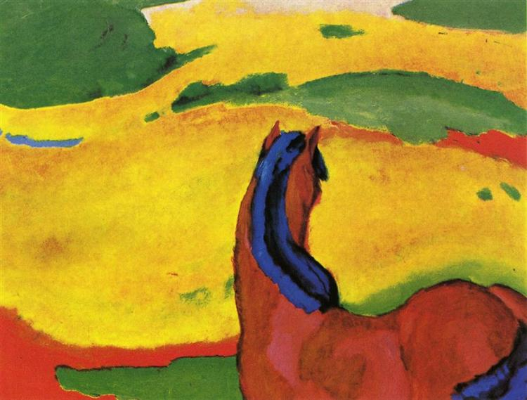 Horse in a landscape - Franz Marc