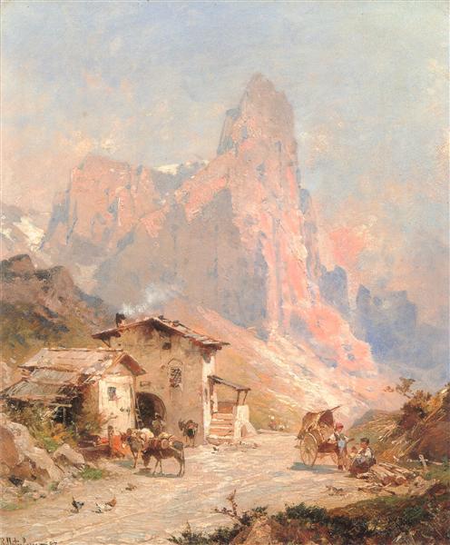 Las cifras en un pueblo en las Dolomitas - Franz Unterberger Richard
