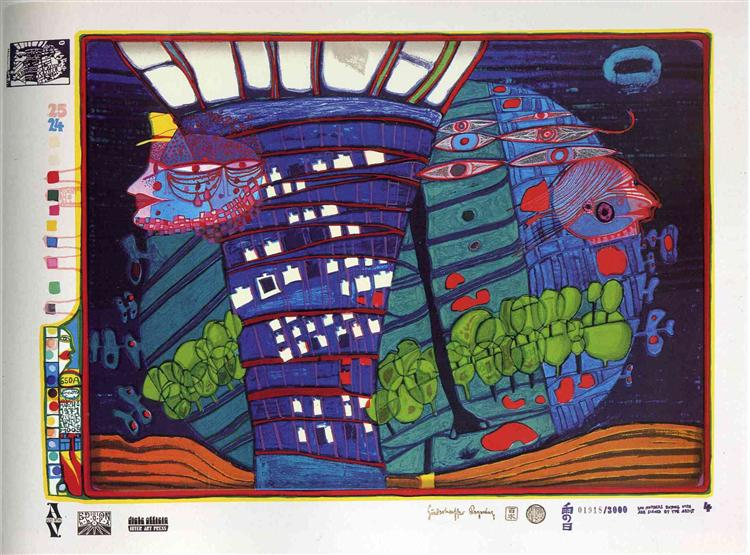 Исход в космос, 1971 - Фриденсрайх Хундертвассер