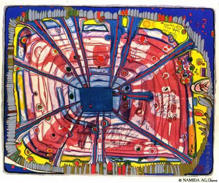 475A  Rain of Blood Is Falling Into the Garden, 1972 - Friedensreich Hundertwasser