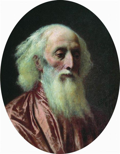 Portrait of an old man in a crimson dress, 1881 - Fyodor Bronnikov