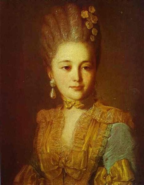 Portrait of an Unknown Woman in a Blue Dress with Yellow Trimmings, c.1760 - Fyodor Rokotov