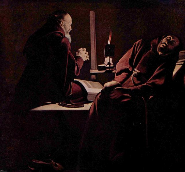 St. Francis in Extasy, also calledThe Praying Monk beside the Dying Monk, c.1640 - Georges de la Tour