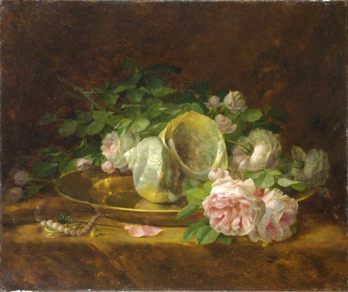 Platter with Seashells, Roses, Pearls and Earrings, c.1920 - Georgios Jakobides
