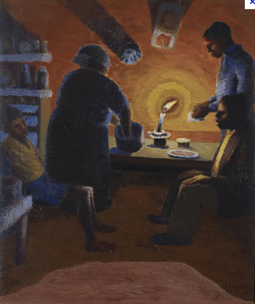 FAMILY WITH CANDLE, 1942 - Gerard Sekoto