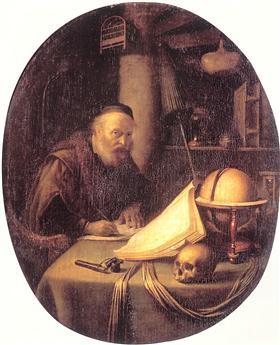 Man Interrupted at His Writing - Gerrit Dou