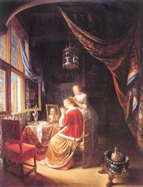 The Lady at Her Dressing Table - Gerard Dou