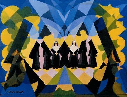 Nuns and Landscape, 1925 - Giacomo Balla