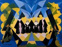 Nuns and Landscape - Giacomo Balla