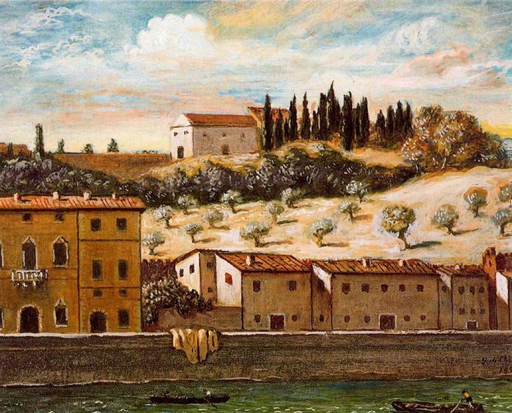 Florence, the banks of Arno, 1957 - Giorgio de Chirico
