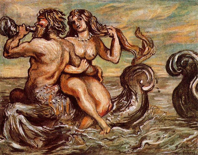 Nymph with Triton, 1960 - Giorgio de Chirico