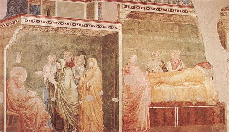 The Birth of St. John the Baptist and his father Zacharias writing his name - Giotto