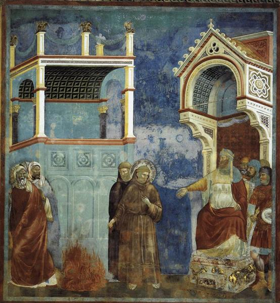 The Trial by Fire, St. Francis offers to walk through fire, to convert the Sultan of Egypt, 1296 - 1297 - Giotto