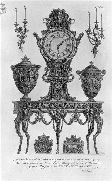 A five-legged table, wall Matterhorn, surmounted by a clock between two decorative vases, two candelabra wall, two urns, 1769 - Джованні Баттіста Піранезі
