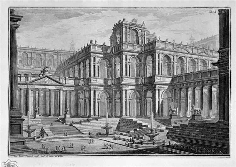 Ancient Roman Forum surrounded by arcades, with loggias, c.1743 - Giovanni Battista Piranesi