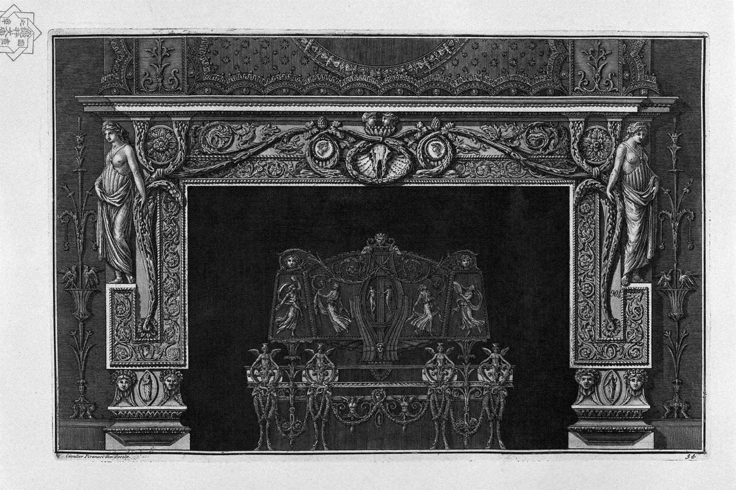 Fireplace: in the frieze horse skull between two cameos; rich ...