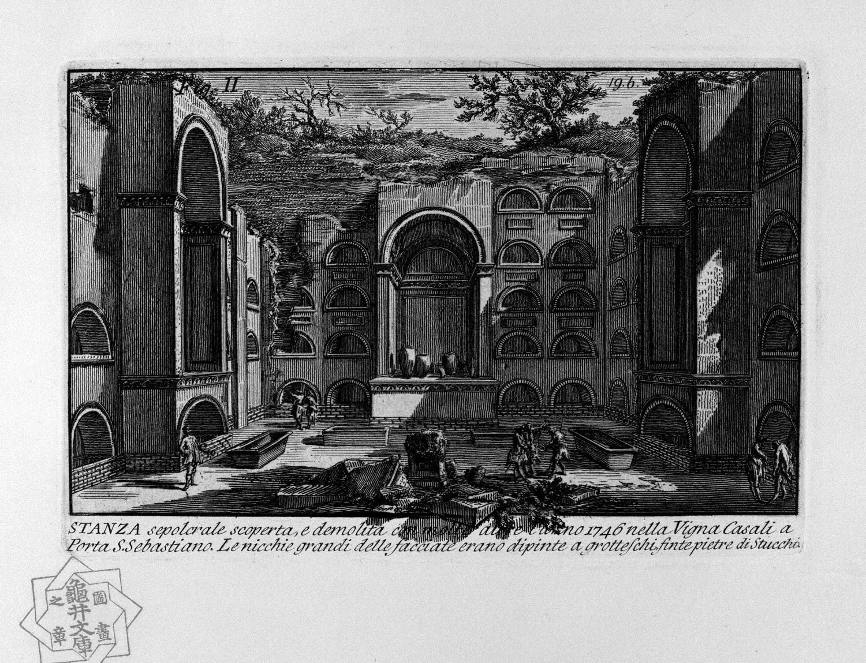 The Roman antiquities, t. 1, Plate XVIII. Tomb near Porta San Sebastiano., 1756