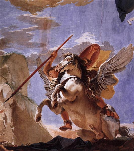 The Force of Eloquence, Bellerophon and Pegasus, c.1723 - Giovanni Battista Tiepolo