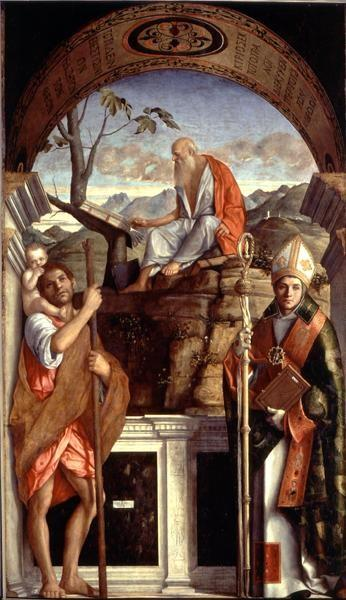 St. Jerome, St. Christopher and St. Augustine, 1513 - Giovanni Bellini