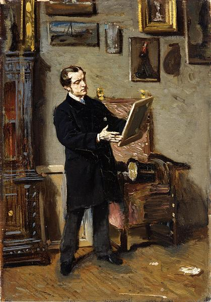 Self-portrait while looking at a painting, 1865 - Giovanni Boldini