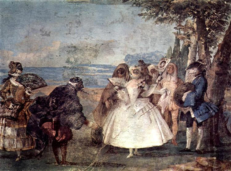 Minuet with Pantaloon and Colombine, from the Room of Carnival Scenes in the Foresteria, 1757 - Giovanni Domenico Tiepolo