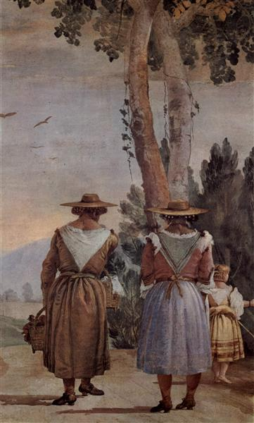 Two Peasant Women and a Child Seen from Behind, from the 'Foresteria' (Guesthouse), 1757 - Giovanni Domenico Tiepolo