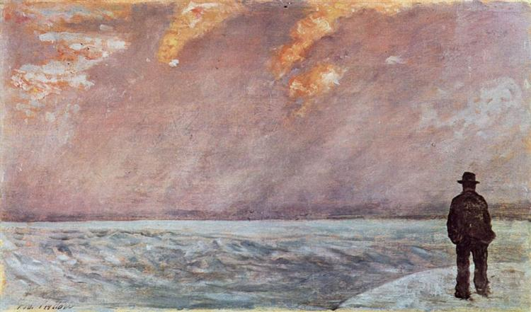 Sonnenuntergang am Meer, 1895 - Джованні Фатторі