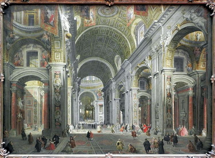 Interior of St. Peter's, Rome, 1755 - Джованні Паоло Паніні