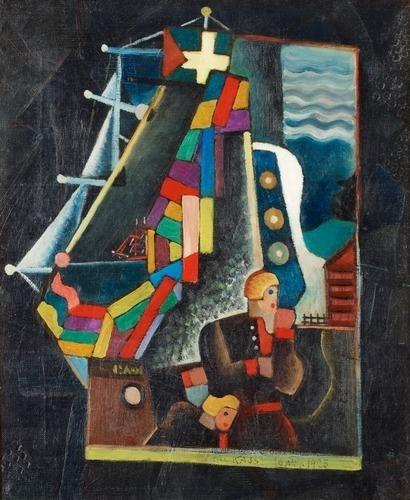Komposition med fartyg och figurer - Gosta Adrian-Nilsson