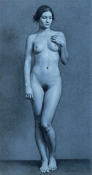 Nude model standing